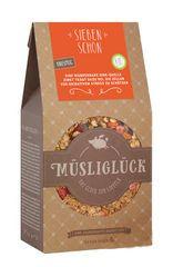 Das Bio-Müsli Siebenschön enthält Hafervollkornflocken, Weizenkleie  und eine leckere Mischung wertvoller Beeren, die ihm seinen Geschmack geben.