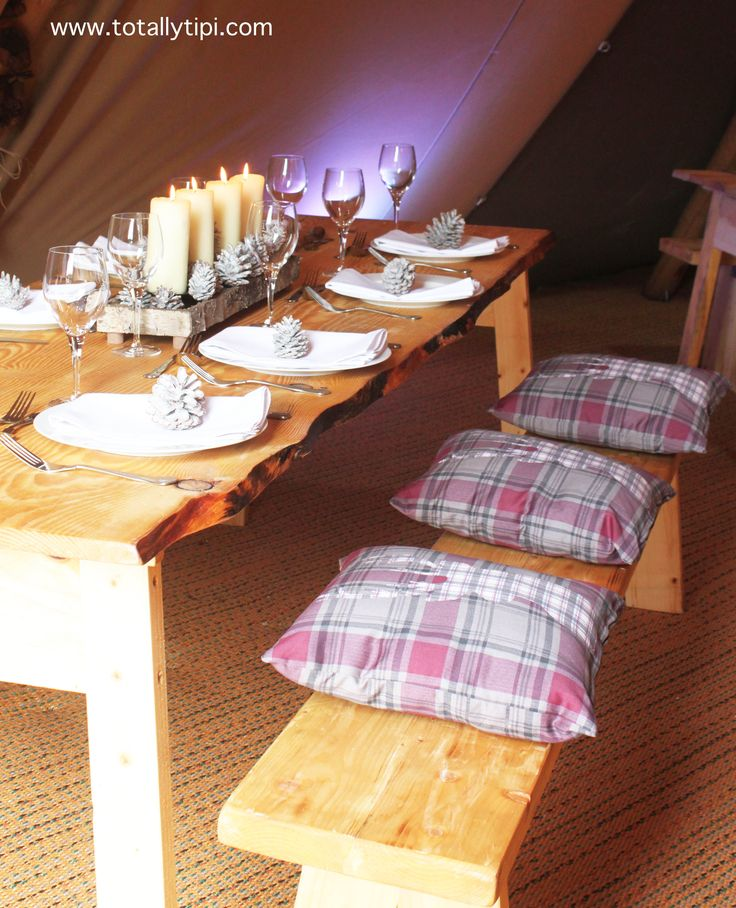 British-made rustic pine tables & benches | TotallyTipi | Nordic theme | Wedding