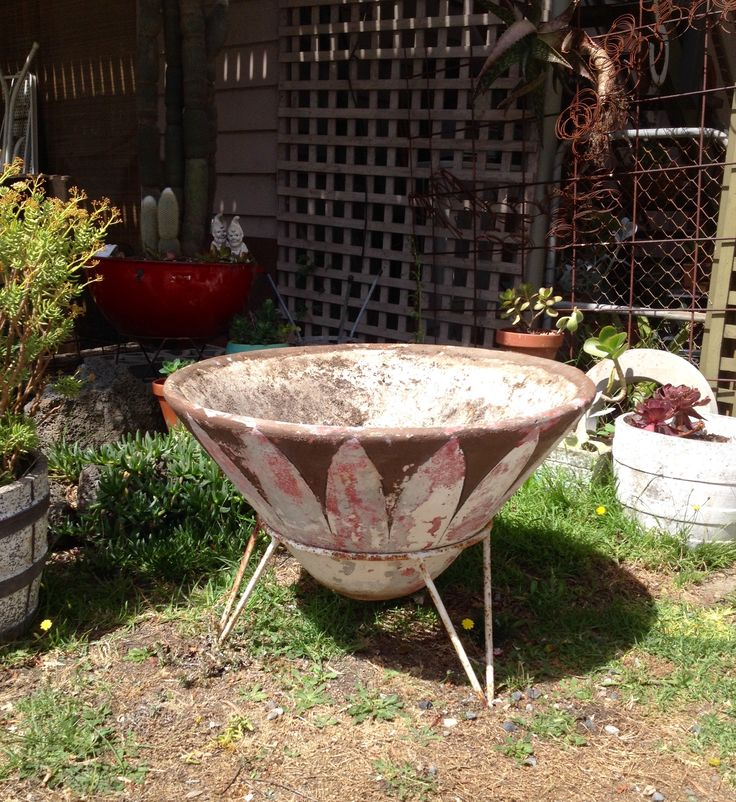 Mid century concrete cone planter at Hairpin Bend