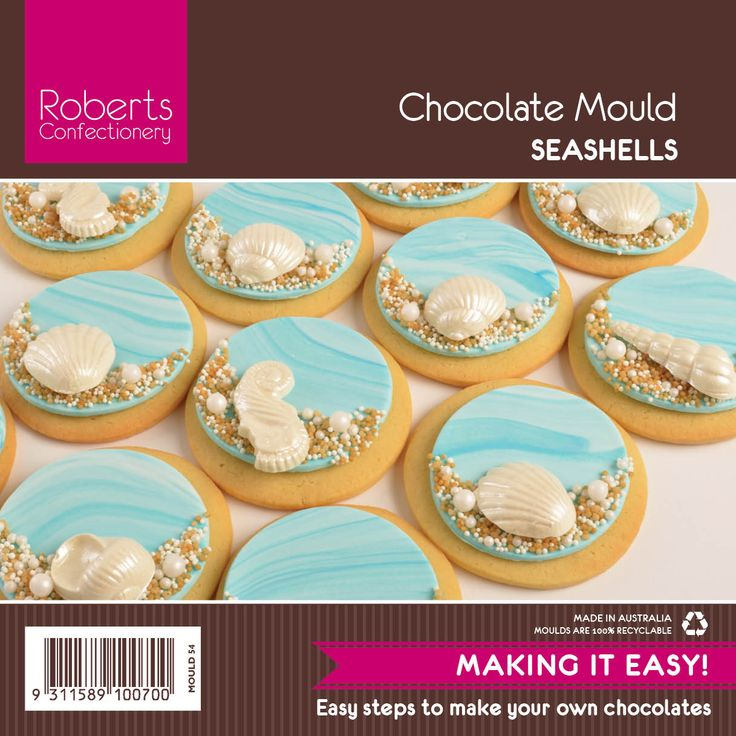 Create beach theme cookies with Roberts Seashell chocolate mould.