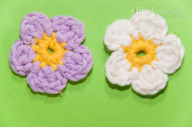 Blumen häkeln – kleine 5-blättrige Blüte - chrochet flower, german pattern