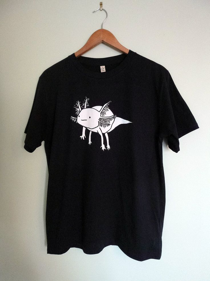 Axolotl T-shirt - unisex, dark navy blue, cute and quirky illustration on climate neutral t-shirts by AmoebaBlankface on Etsy https://www.etsy.com/listing/214250764/axolotl-t-shirt-unisex-dark-navy-blue