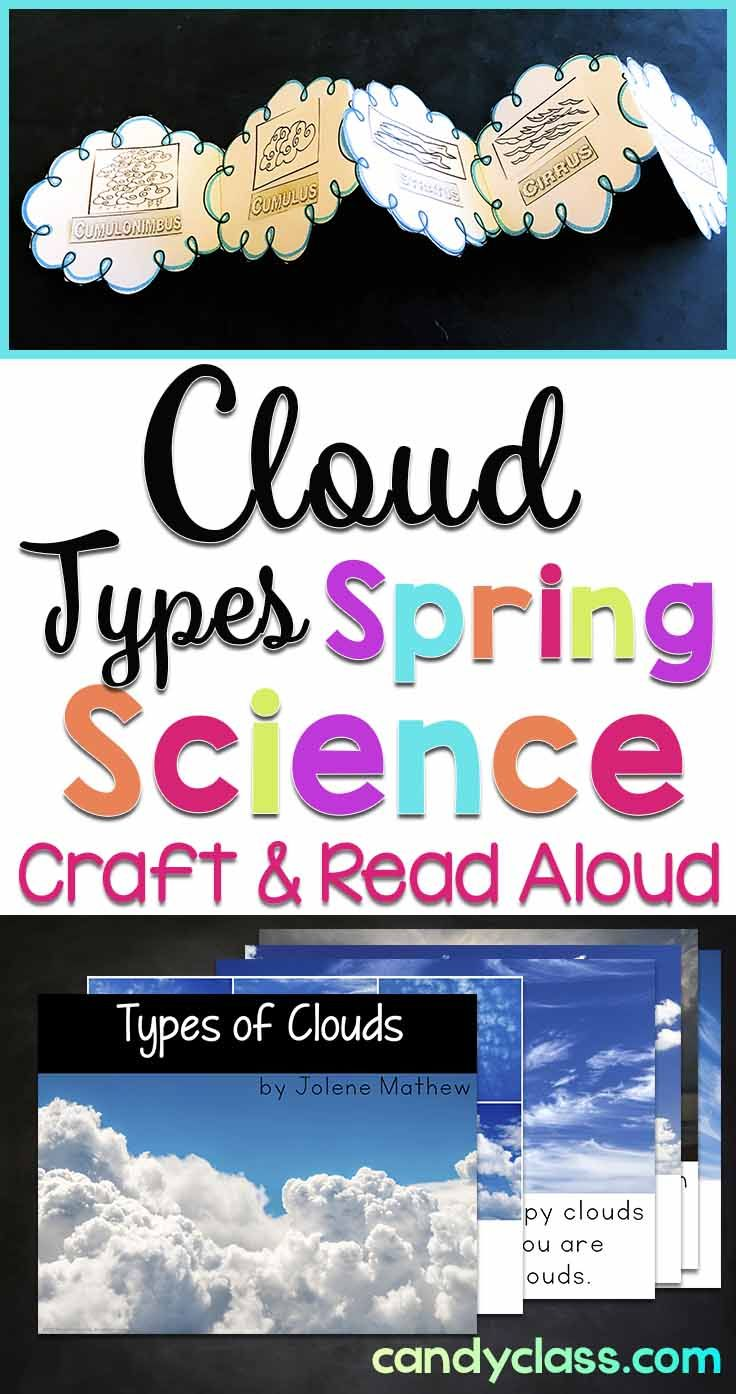 Let students learn about the cloud types with the non-fiction read aloud book and fun craft. Project the book with your Smartboard or print to read. This reading response activity with craftivity is perfect for some spring science learning. Ideal to use with kindergarten, first grade, and 2nd grade classrooms.
