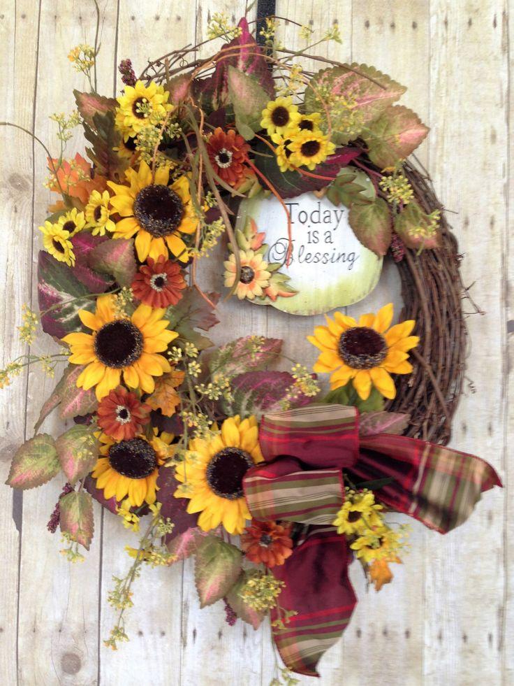 Front Door Wreath- Sunflower Wreath- Spring Door Wreath- Summer Door Wreath- Grapevine Wreath- Outdoor Wreath- Blessing Wreath- by spratsdesign on Etsy