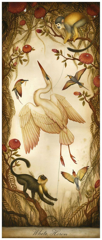 Garza Blanca  edición limitada grabado  aves y por LittleRobot, $120.00