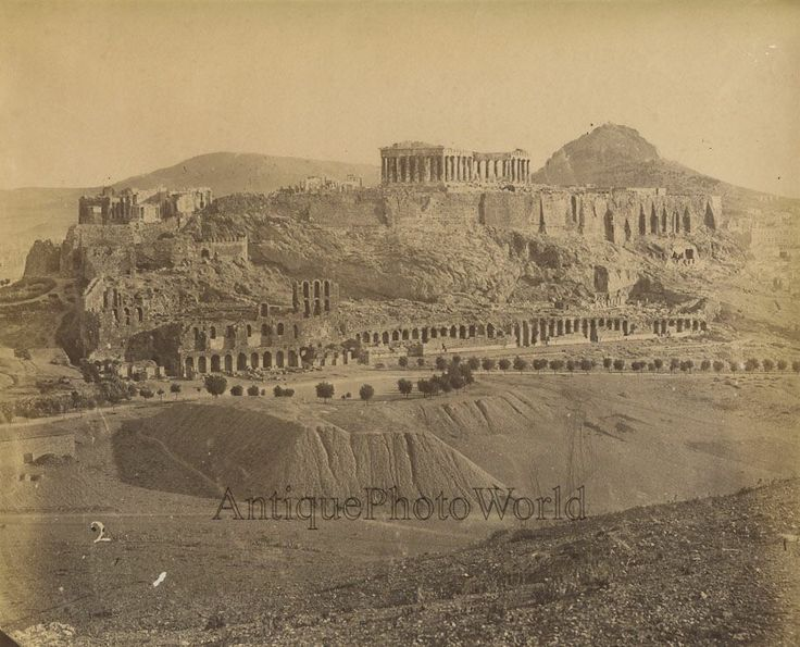 Acropolis view Athens Greece antique albumen art photo in Collectibles, Photographic Images, Vintage & Antique (Pre-1940), Other Antique Photographs | eBay