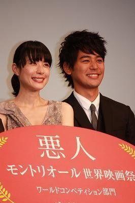 映画『悪人』のジャパンプレミアに登壇した妻夫木聡と深津絵里