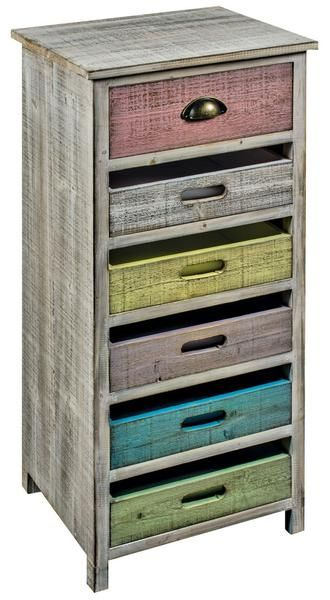 6 Drawer Wooden Cabinet Multicoloured - White intimacy