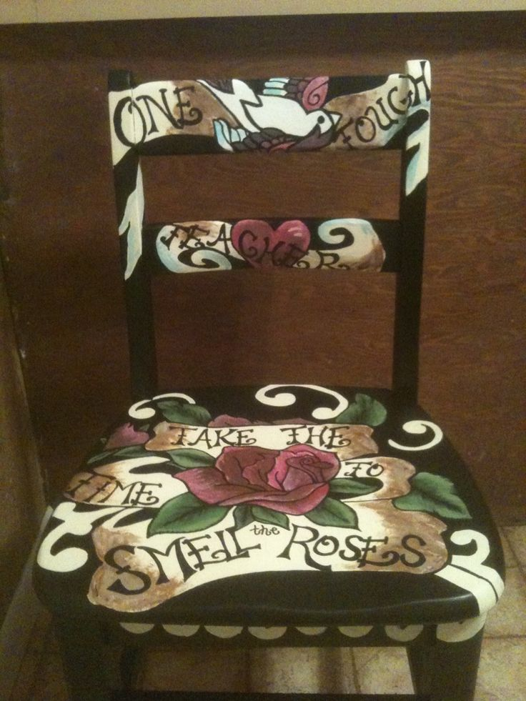 Tattoo inspired chair.  I always wanted to do this on a small accent table top and poly to a high gloss shine.