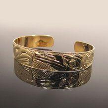 Eagle and Raven Native Gold Bracelet by Carmen Goertzen