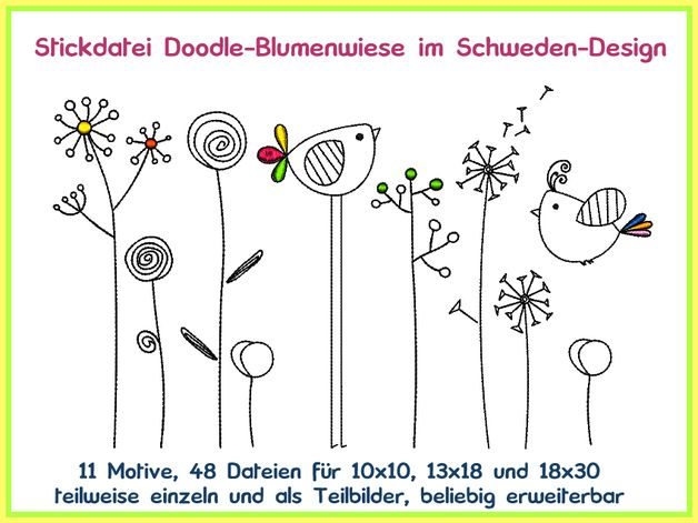Stickmuster - Stickdatei Schwedendesign Doodle Blumen Wiese - ein Designerstück von Rock-Queen bei DaWanda