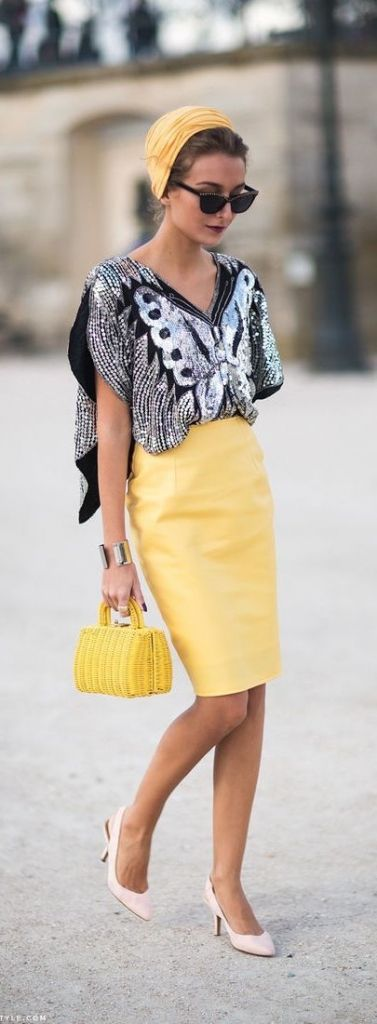 street style yellow pencil skirt + sequins @wachabuy