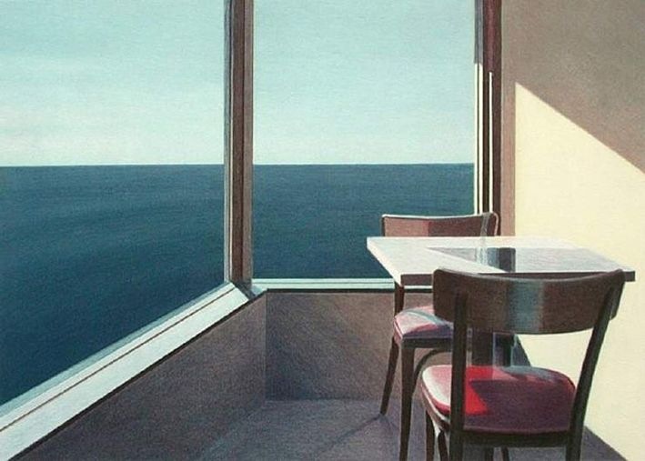 Restaurant Overlooking the Pacific, 1990  by John Register (American, 1939-1996)