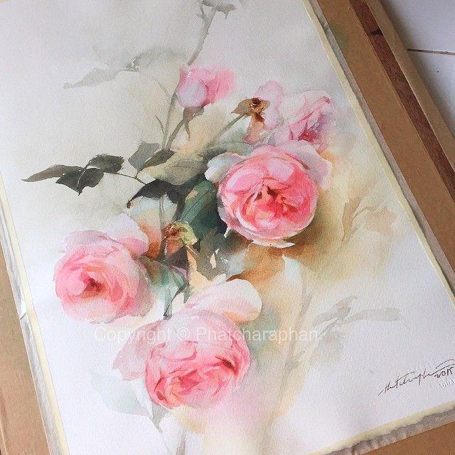 Daydreamer #watercolor #paint #painting #rose #roses #romance #art #artwork…