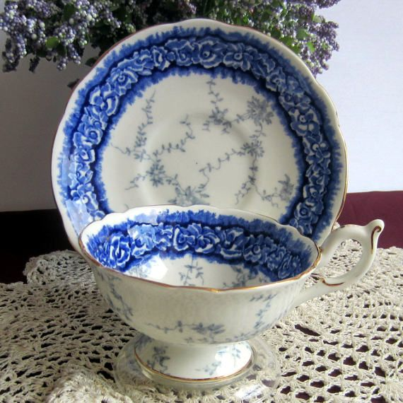 Coalport 8033 Blue and White Wide Mouth Bone China Tea Cup and Saucer - Made in England