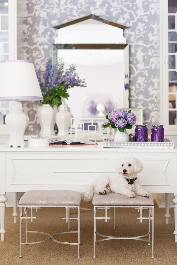 silver leaf stools + touches of lilac