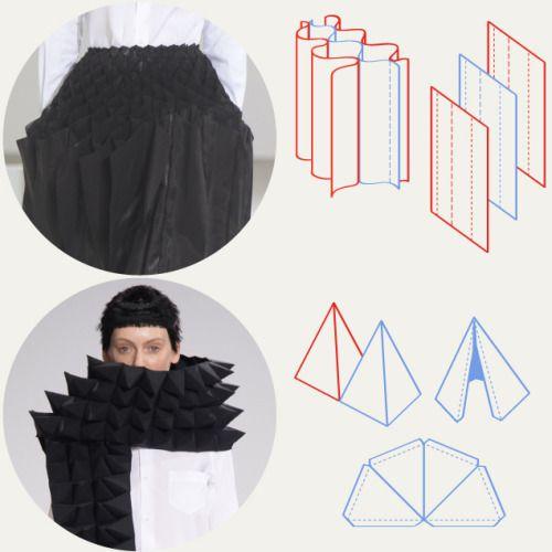 Estructuras patrón de panal de Junya Watanabe | The Cutting Class.  Junya Watanabe, AW15, París, Imagen 4. tiras textiles unió con líneas de costura y el patrón pirámide formas alterna.