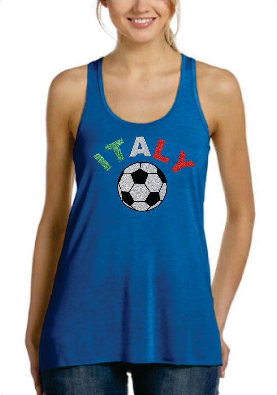 ITALY Glittery Flowy Racer Back Tank Top World Cup Brazil 2014 Soccer Football on Etsy, $28.99