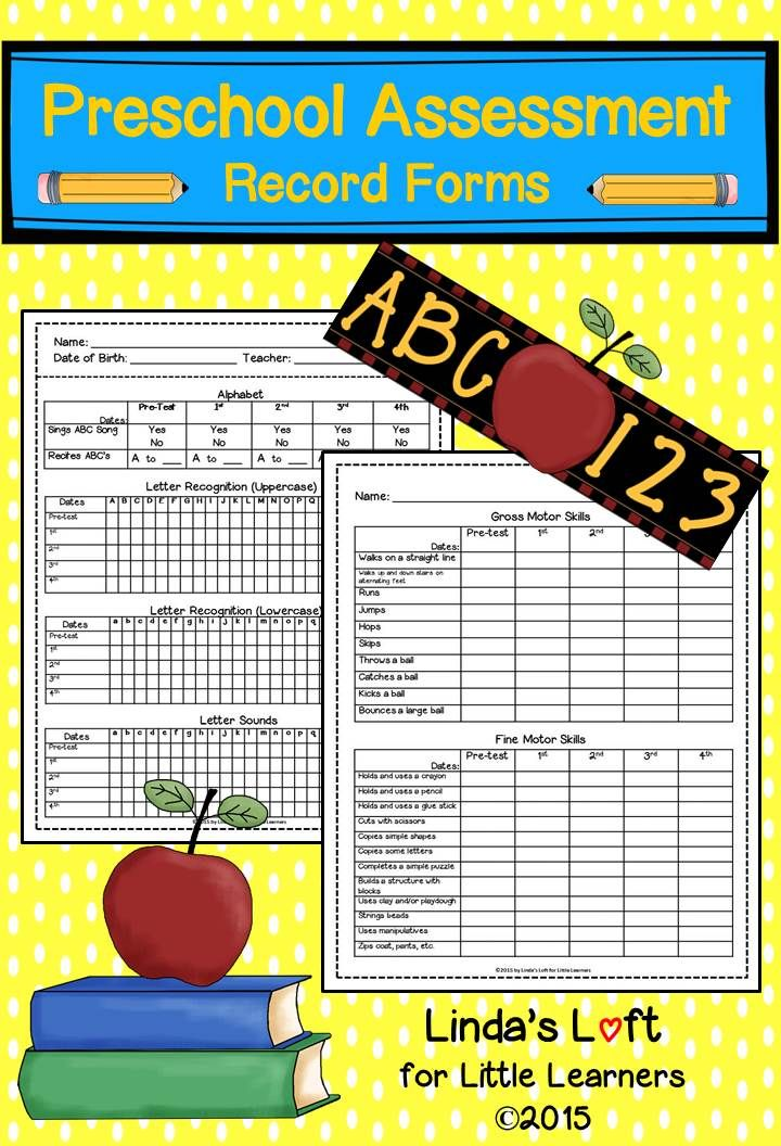 These Preschool Assessment Record Forms are a great tool to keep track and document individual student progress throughout the year. These forms would be appropriate for any early childhood education setting. Visit my site to preview the entire assessment. $