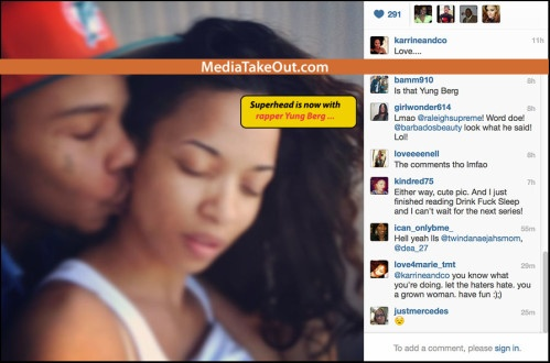 Rumor: Is Karrine Steffans and Yung Berg Dating?- http://getmybuzzup.com/wp-content/uploads/2013/05/Karrine-Steffans-dating-rapper-499x330.jpg- http://getmybuzzup.com/rumor-is-karrine-steffans-and-yung-berg-dating/-   Is Karrine Steffans and Yung Berg Dating? Are Karrine Superhead Steffans and rapper Yung Berg dating?? This chic never ceases to amaze me of what she will do for attention. Karrine shared some pics via Instagram showcasing their undying love f