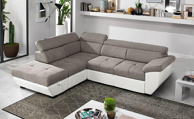 Speedway similpelle bianco/tessuto elephant è un divano letto angolare adatto per le famiglie più numerose.