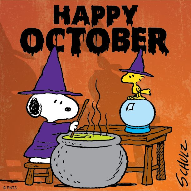 happy october snoopy and woodstock - Charlie Brown Halloween Cartoon