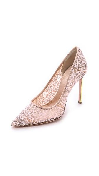 Giambattista Valli Lace Pumps with Iridescent Heel #shoes #nude