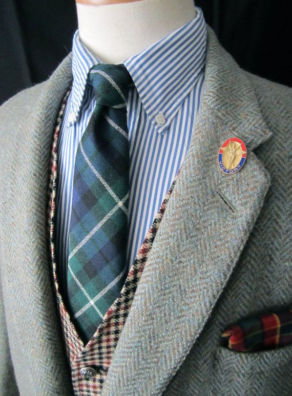 Vtg 1960s HARRIS TWEED Wool Blazer 44 S jacket Herringbone ...