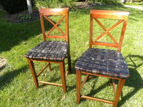 Walnut with Black Leather Seats Bar Stool PAIRMade with by BeltArt