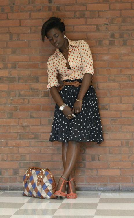 Shirt + skirt + heels. Patterns.