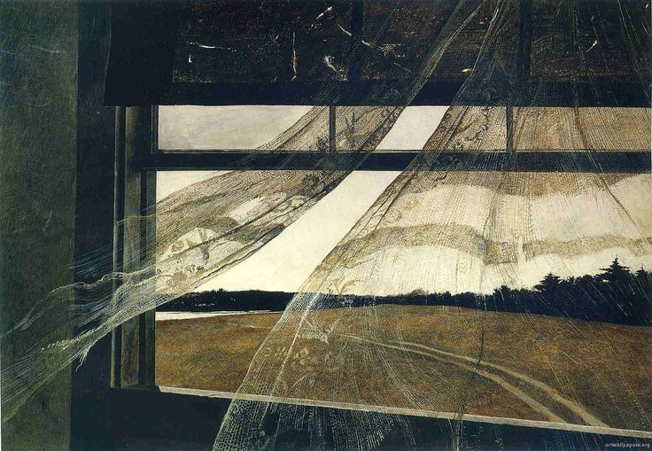 Andrew Wyeth, Wind From The Sea, 1947, tempera on hardboard, 47 x 70 cm, National Gallery of Washington DC