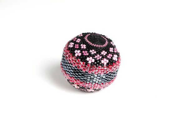Beaded Ball - Pink Floral - Sphere Orb Peyote Stitch Handmade