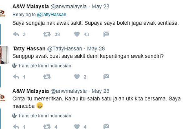 Tweet nakal A&W berbalas tweet netizen   Kesungguhan admin akaun Twitter syarikat makanan segera A&W Malaysia yang cuba menggunakan ayat power ketika membalas tweet seorang pelanggannya telah menghiburkan netizen.  Segalanya bermula apabila admin rangkaian restoran itu menulis tweet mempromosikan rut bir popularnya untuk berbuka puasa.  Tekak kering la pula. Buka puasa dengan rut bir hari ini! demikian tweet yang dibuat di akaun Twitter @anwmalaysia pada 28 Mei lalu.  Tweet tersebut telah…