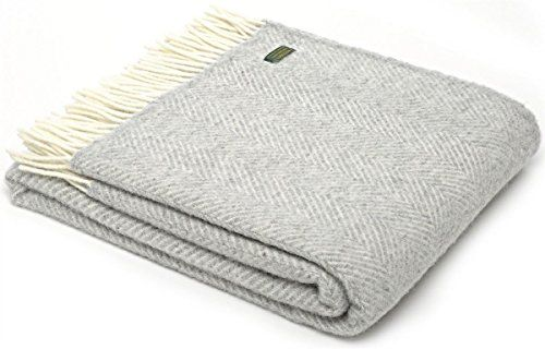 Herringbone pure new wool knee rug throw - silver grey BRITISH MADE