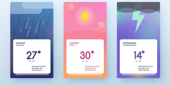 Ionic SwipeWeather - Ionic Full Weather App with Swipe Cards . Ionic SwipeWeather is a gorgeous weather app with Tinder like swipe cards and beautiful dynamic backgrounds that change to match the weather. The app is designed to integrate with Apixu  Weather API and can be customized to any other