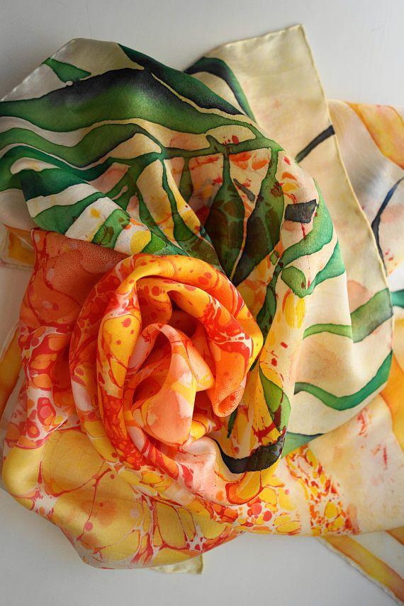 Silk Square Scarf, Marbled Silk Scarf, Handpainted Square Scarf, Handpainted Neckerchief, Orange Yellow Silk Scarf, Unique Silk Neckerchief