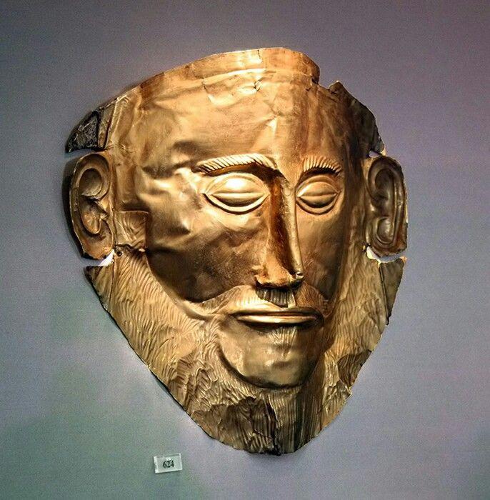 La mascara de Agamenon es una máscara funeraria de oro encontrada en la acrópolis de Micenas, por tanto perteneciente al arte micénico. Al principio se creyó que era la máscara de Agamenon pero posteriormente se descubrió que no, que su datación era de 1500 años a.c., aun así conservo su nombre.