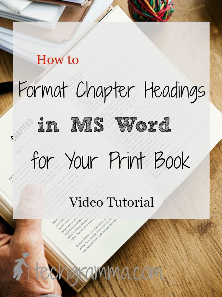 Before creating a table of contents in MS Word for your book, you need to properly format the chapter headings. This step-by-step tutorials shows you how.