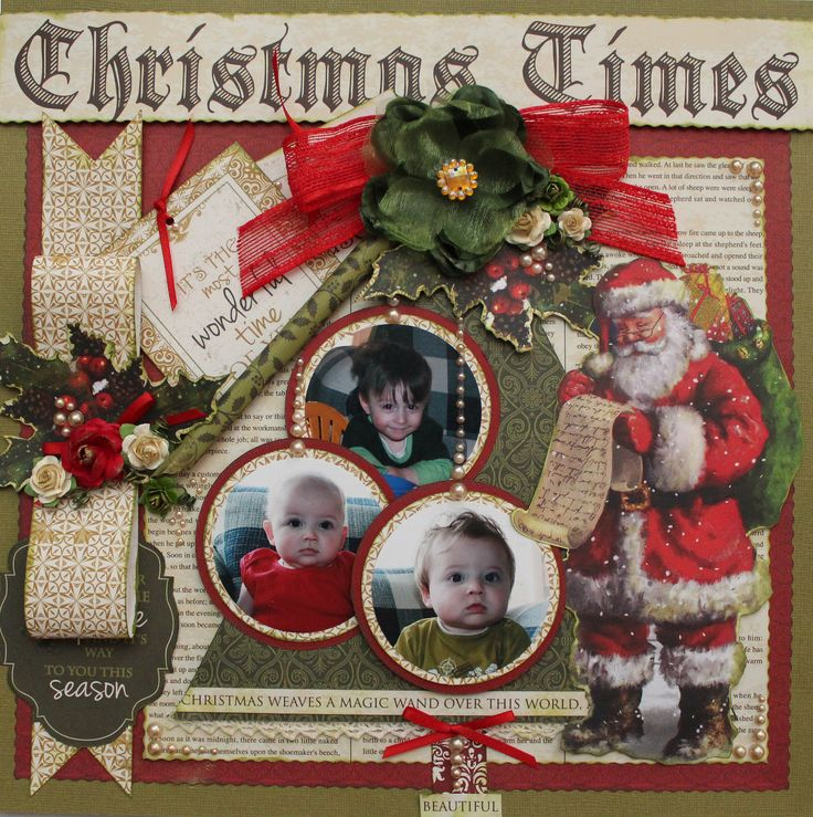 Christmas Times single page. Designed by Carol Barron www.paperroses.com.au www.thescrapbookclub.com