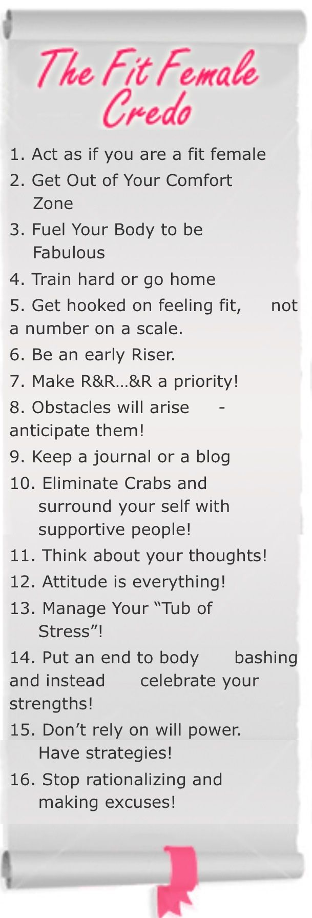 Rachel Cosgrove's book The Female Body Breakthrough contains this The Fit Female Credo. KNOW these!!