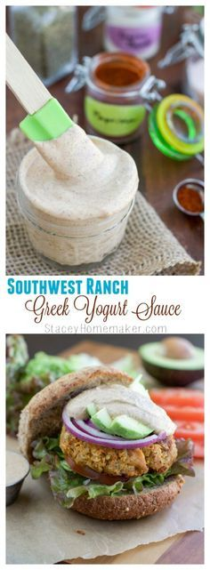 Flavor packed southwest ranch greek yogurt sauce that's perfect for spreading on burgers, sandwiches, wraps, or dipping veggies into. You're only two minutes away from being in southwest ranch flavor heaven!