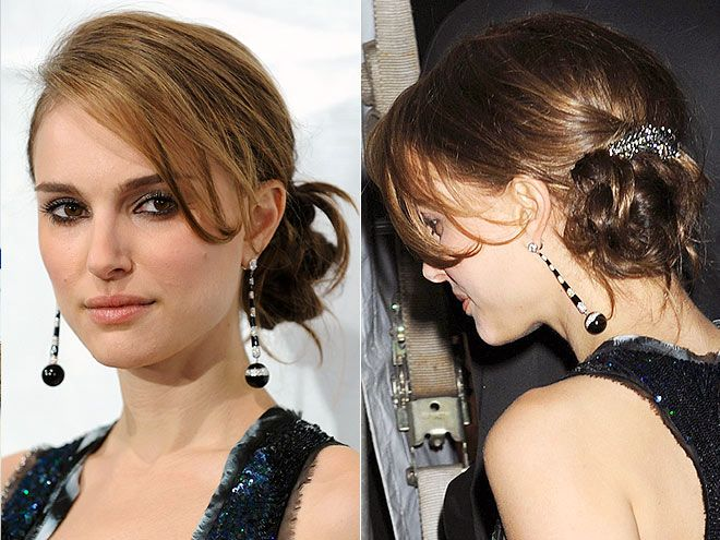 HAIR JEWELRY photo   Natalie Portman This hair style is gorgeous.  I love the color, too.