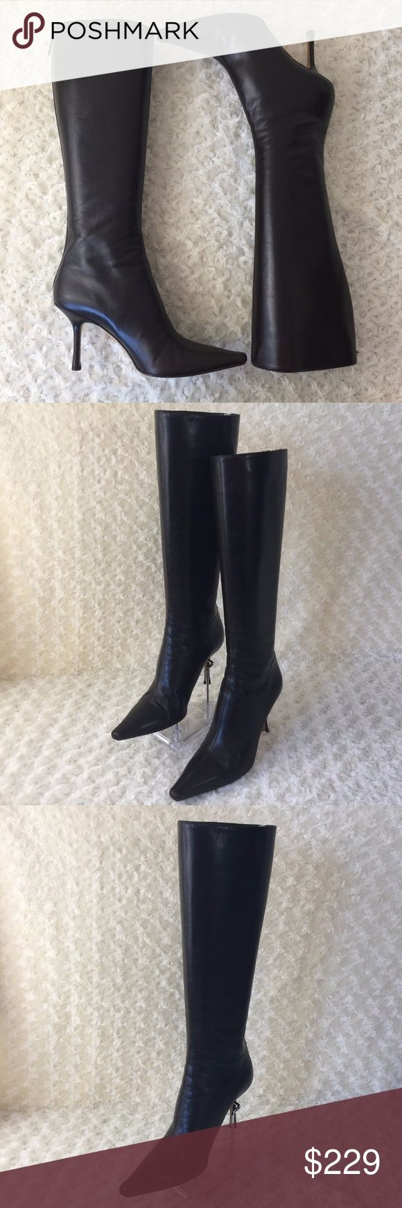 Jimmy Choo London Knee High Boots Gently used; just normal signs of use on its sole; leather in excellent shape; clean in and out Back zip silver hardware Made in Italy Jimmy Choo Shoes Over the Knee Boots