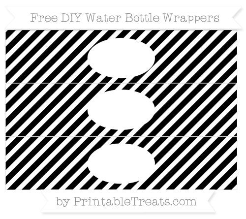 Free White and Black Diagonal Striped  DIY Water Bottle Wrappers Gratis doe het zelf waterfles etiketten zwart wit gestreept