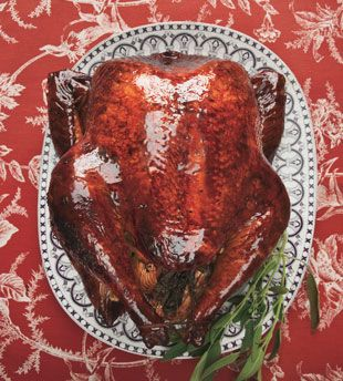 Malt-Beer-Brined Turkey with Malt Glaze by bonappetit #Turkey #Beer