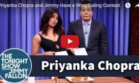 Priyanka Chopra and Jimmy Have a Wing-Eating Contest We didn't know stunning Indian actress Priyanka Chopra was a hot-wings kinda gal. Here she's seen showing Jimmy how they do it in Queens, New York, by challenging him to an who-can-eat-the-most-nuclear-sauce-covered-Atomic-Wings-in-20-seconds contest…
