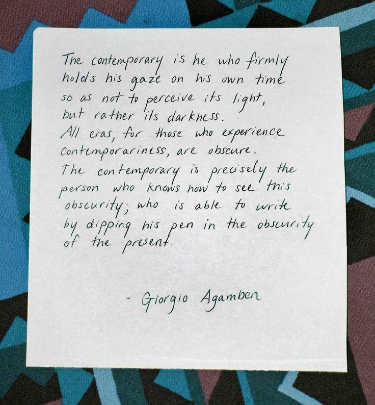 Giorgio Agamben - What´s contemporary?È davvero contemporaneo chi non coincide perfettamente con il suo tempo. Ma proprio attraverso questo anacronismo egli è capace più degli altri di percepire e afferrare il suo tempo!