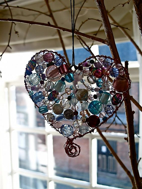 Pink and Blue Glass Beaded Sun Catcher by duangweston on Etsy, $16.00