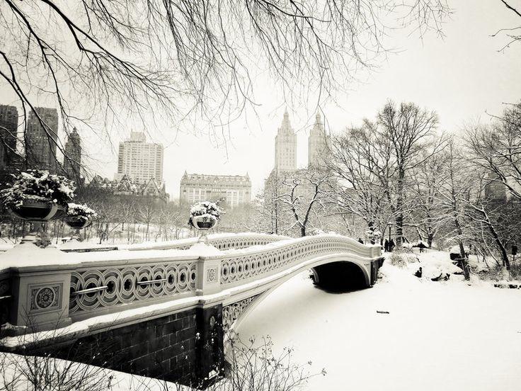 New york city, New York, usa, manhattan, central park, pont de l'arc, central park, hiver Wallpaper