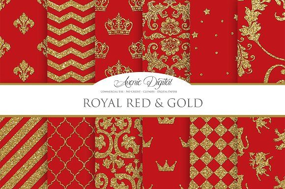 Royal Red And Gold Digital Papers By Avenie On Creativemarket